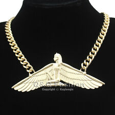 Gold Egyptian Goddess Isis Ankh Wing Chunky Curb Chain Necklace Wicca Pagan