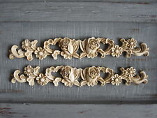 TWO SHABBY CHIC VINTAGE ROSE/HEARTS DECORATIVE FURNITURE OPAQUE  SWAG MOLDINGS.