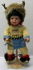 Porcelain Indian Boy Doll Head Piece Fur Antlers Feathers Beads Elke Hutchens