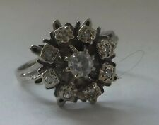 Antico in Oro 18 carati diamante Daisy 1930s Art Deco Grappolo Anello