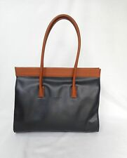 TOLBLANC paris Black/ British Tan Leather  Large Shoulder Bag