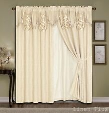 Luxury Beige Panels Valance Liner Curtain Satin Jacquard Set Window Drapes