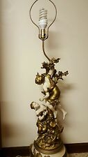 Moreau Collection Francaise Spelter Figural Lamp Tree Boy & Girl Picking Fruit