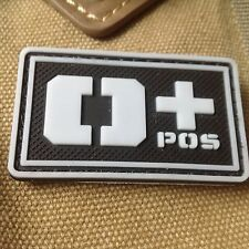 GLOWING  Military Blood Type O+ Positive Tactical Army 3D PVC Patch
