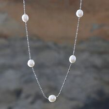 Pearl Necklace Cultured White Fresh Water Pearls Silver Plated Chain 18""