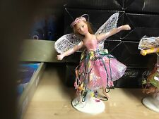 "SMALL 5"" PORCELAIN PINK FAIRY FIGURE ORNAMENT DOLL WITH STAND OR CAN BE HUNG"