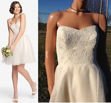 """NWT GATHER & GOWN """"Wallace"""" 560 Cream Lace/Tulle Mini Ball Gown Wedding Dress~8"""
