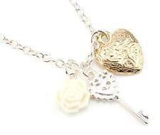 Zest Silver Look Necklace with Key Heart & Flower Pendant
