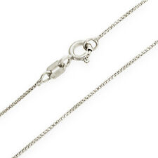 Value! 14K White Gold Solid Box Chain .5mm wide 18 inch w/ Spring Ring Clasp