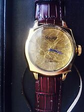 stauer swiss quartz 24k gold leaf men's watch NIB