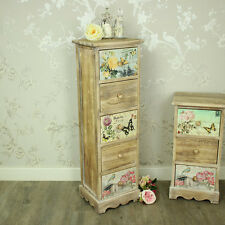 Floral 5 drawer tallboy chest of drawers shabby vintage chic bedroom furniture
