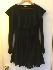 Leifnotes Anthropologie Black Wool Sweatercoat W/ Ruffle Collar, Size Small