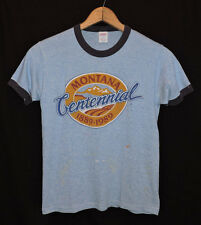Rare Vtg 80s Montana Tri-blend Rayon Heather Blue Ringer Thin Soft T-shirt S