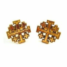 The Vatican Library Gold Tone Jerusalem Cross Cufflinks Cuff Links Free Shipping