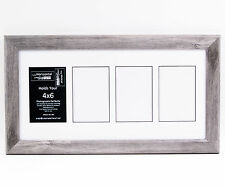 4 Opening 4x6 Glass Face Driftwood Picture Frame W/ 10x20 White Mat Collage