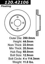 Centric Parts 120.42106 Front Premium Brake Rotor