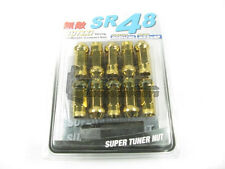 Muteki SR48 Extended Open Ended Wheel Tuner Lug Nuts Chrome Yellow 12x1.5mm NEW