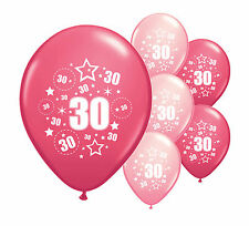 "8 x 30TH BIRTHDAY PINK MIX 12"" HELIUM OR AIRFILL BALLOONS (PA)"