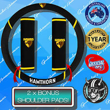 HAWTHORN HAWKS CAR STEERING WHEEL COVER + SEAT BELT COVERS, OFFICIALS AFL!