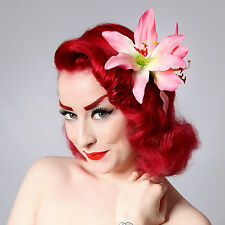 Rockabilly 50s Pin Up Rosa Flor Clip de Pelo Doble Lily