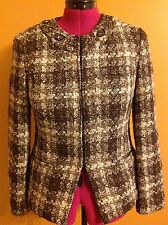 CHICO'S Size 0 Women's Lightweight Jacket Coat Shirt Brown Tweed Casual Business