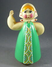 Vintage Soviet Russian PEASANT GIRL Bobble Head Nodder - Hand Enamelled Plastic