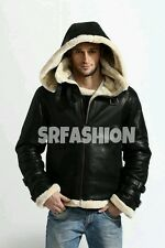 Men's Stylish B3 Bomber Full Fur Removable Hood Leather Jacket.
