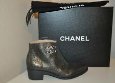 NIB CHANEL CC Logo Macho Short Ankle Boot Dark Gold Block Low Heel Side Zip 5.5