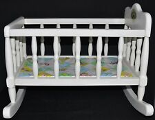 "Vintage Cabbage Patch Wooden Doll Crib/Cradle/ Bed w Pad - 18"" Dolls"