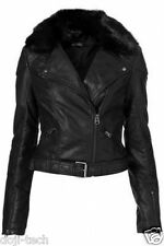 Topshop Black Quilted PU Fur Collar Leather Aviator Zip Biker Jacket 12 40 US8 M