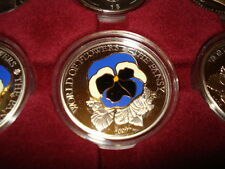 2009 COOK ISLANDS 5$ SILVER FIRST COIN IN A SERIE - WORLD OF FLOWERS -THE PANSY