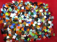 "MIXED Glass Mosaic Tile Hand cut all colors textures 500 1/2"" Squares COLORFUL!"