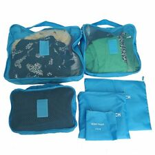 6Pcs Waterproof Clothes Storage Bags Packing Travel Luggage Organizer Pouch Blue