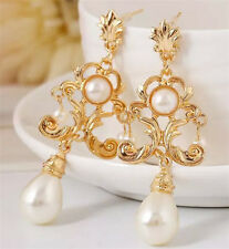 BEAUTIFUL ZARA BAROQUE STYLE WHITE PEARL DROP DANGLE EARRINGS NEW