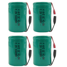 4PCS 4/5 Sub C 1600mAh 1.2V Ni-MH Rechargeable Battery Tabs Green 22.2x34.32mm