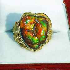 Awesome Ring 18k Gold Fire Agate Gem AAA Quality Slaughter Mountain Arizona