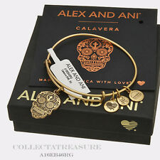 Authentic Alex and Ani Calavera Rafaelian Gold Charm Bangle