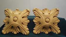 Pair of Large Square Rosettes  - Resin Accents / Appliques / Moulding
