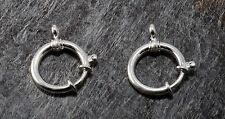 Vintage Spring Ring Clasp Pair SIlver Metal Large Size 20mm With Connector