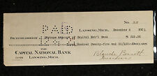 Capital National Bank Lansing, MI  Cancelled Check 1921