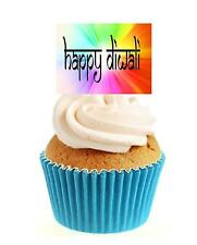 Novelty Happy Diwali Bright Sign 12 Edible Stand Up wafer paper cake toppers