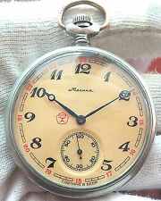 MOLNIJA WOLVES  OPEN FACE MEN'S OLD POCKET WATCH - USSR 18JEWELS