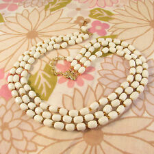 Vintage 1960s/70s Triple Strand Milk Glass Beaded Necklace-Amber Glass Accents