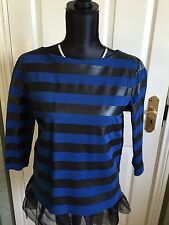 COS/ STRIPED BRETON TOP/ FAUX LEATHER & BLUE COTTON/ SIZE MEDIUM/ GORGEOUS