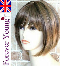 Ladies Short Blonde Wig Honey & Dark Brown Mix Fashion Wig Forever Young Wigs