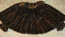 ADOLFO RUSSIAN SABLE COLLAR DARK BROWN MINK FUR COAT JACKET LARGE L
