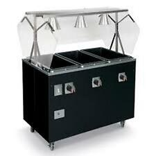 VOLLRATH 4 WELL BLACK PORTABLE HOT FOOD STEAM TABLE W/ STORAGE - T38712