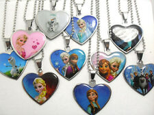 lots 20pcs heart girls frozen stainless steel pendants necklace  Elsa Anna ..