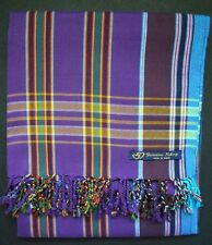 Kikoy Kikoi Purple Multi Stripe Africa Cotton Sarong Throw Scarf Kenya Swimwear