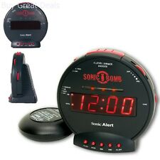 Vibrating Alarms Clock Loud Sonic Boom Bed Shaker Deaf Hearing Impaired Alarm